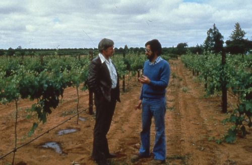 Phil Cole (on right) in one of the first drip irrigated vineyards in the Riverland, circa 1973